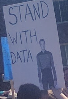 ScienceMarch StPaul poster stand with Data Star Trek