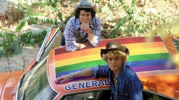 Dukes of Hazzard car with rainbow flag