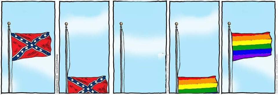 changing of flags from confederate to rainbow