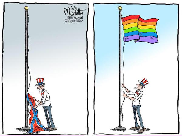 Uncle Sam changes flag from confederate to rainbow