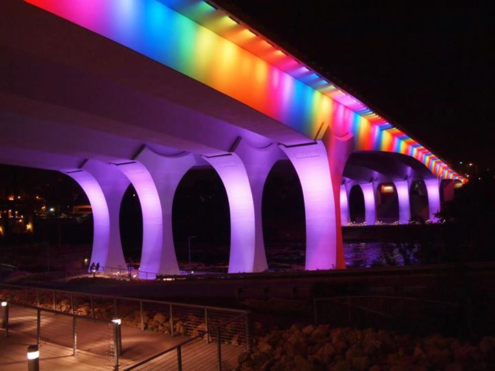 Minneapolis I35-W bridge with rainbow pride colors