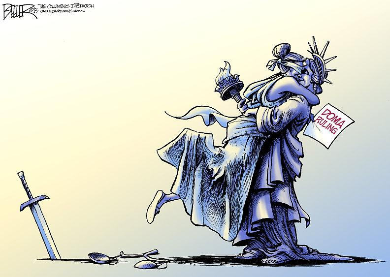 Justice kissing Liberty