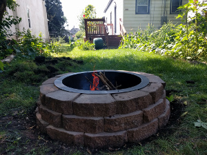 fire pit back yard, 25 feet from back of house