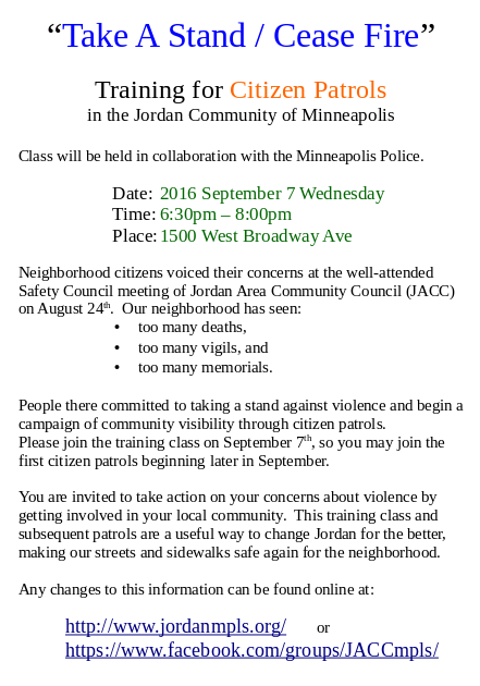 training for citizen patrols in Jordan community of Minneapolis