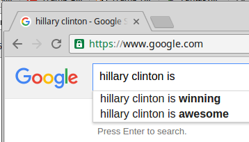 "google resuilts for ""Hillary Clinton is"""