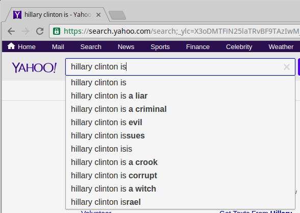 "Yahoo results for ""Hillary Clinton is"""