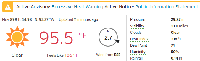 heat index 41C/106F